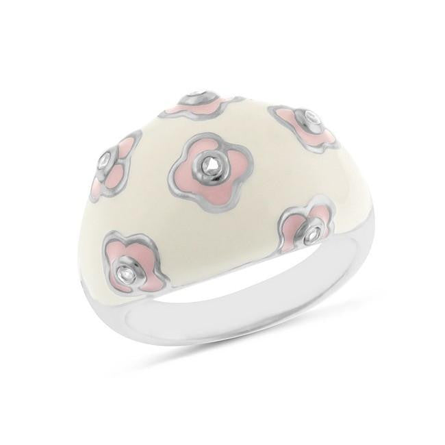 Sterling Silver Pink & White Enamel Ring