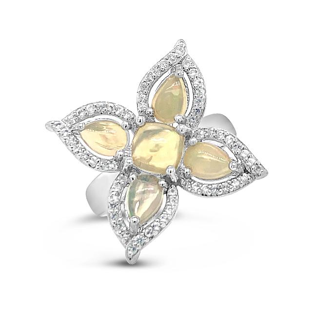 2.69 Carat Genuine Ethiopian Opal & White Topaz Flower Ring in Sterling Silver
