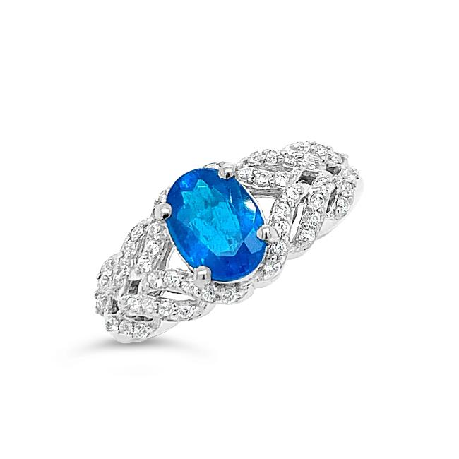 1.29 Genuine Neon Apatite & White Zircon Ring in Sterling Silver