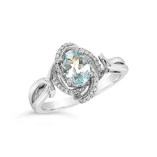 0.70 Carat Genuine Aquamarine & Diamond Ring in Sterling Silver