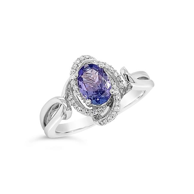 0.80 Carat Genuine Tanzanite & Diamond Ring in Sterling Silver