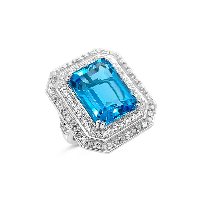 13.52 Carat Genuine Blue Topaz & White Zircon Cocktail Ring in Sterling Silver