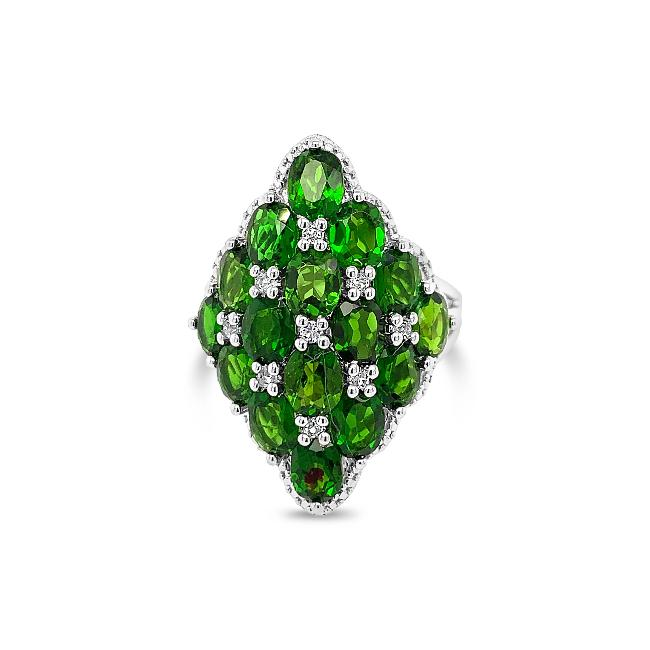 6.00 Carat Genuine Chrome Diopside & White Topaz in Sterling Silver