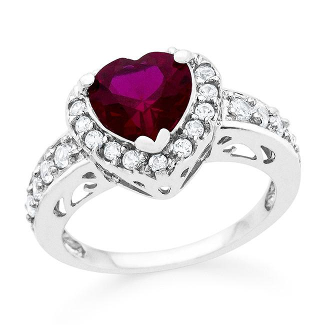 3.00 Carat tw Ruby & White Sapphire Heart Ring in Sterling Silver