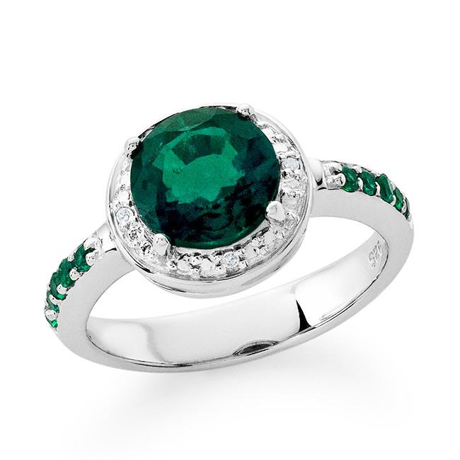 1.85 Carat Emerald & Diamond Ring in Sterling Silver
