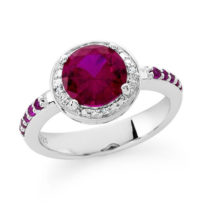 2.55 Carat Ruby & Diamond Ring in Sterling Silver