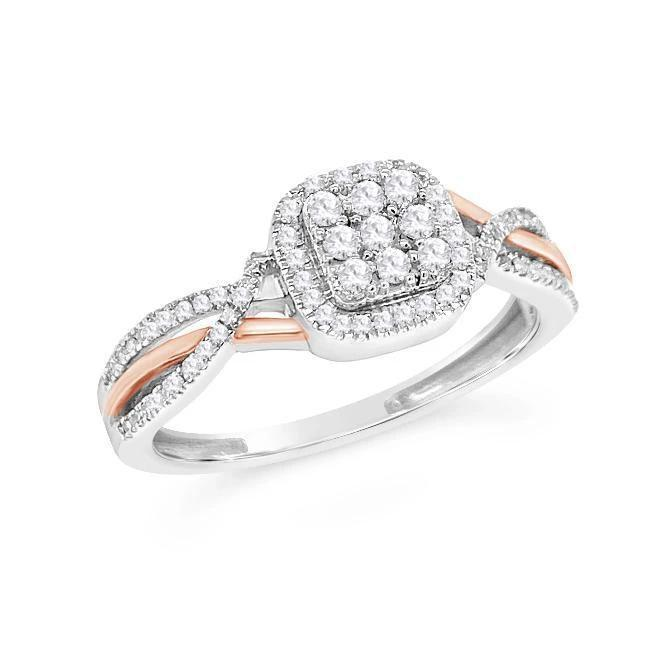 1/4 Carat Diamond Ring in  Sterling Silver/Rose Gold
