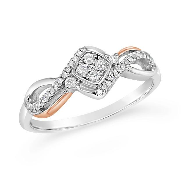 1/8 Carat Diamond Ring in Two-Tone Sterling Silver