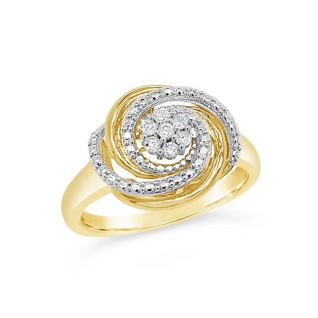 0.08 Carat Diamond Swirl Ring in Yellow Gold-Plated Sterling Silver