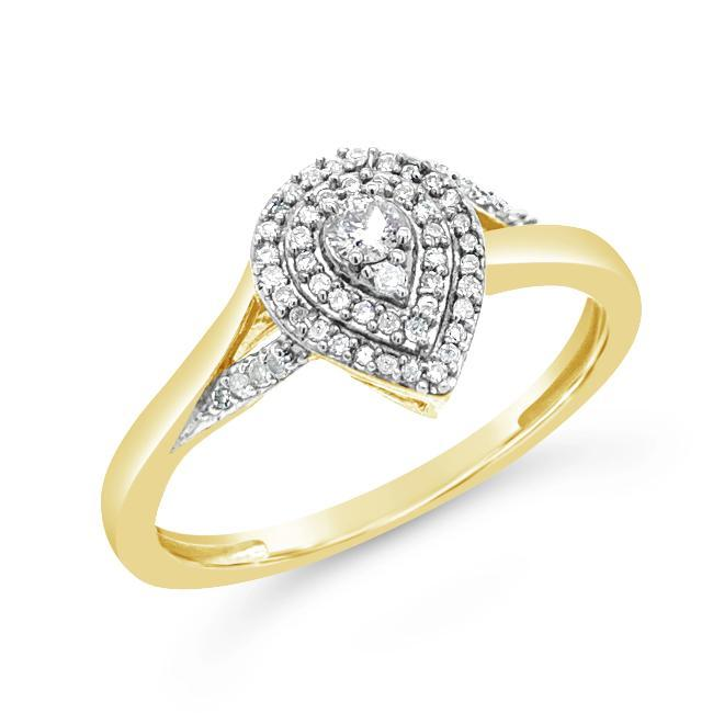 1/6 Carat Diamond Pear Shaped Ring in Yellow Gold-Plated Sterling Silver
