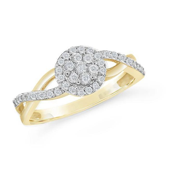 1/4 Carat Diamond Halo Ring in 14K Yellow Gold/Sterling Silver