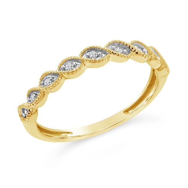 0.08 Carat Swirl Band in Yellow Gold-Plated Sterling Silver