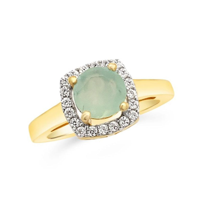 1.15 Carat Genuine Green Chalcedony & White Zircon Ring in Yellow Gold-Plated Sterling Silver