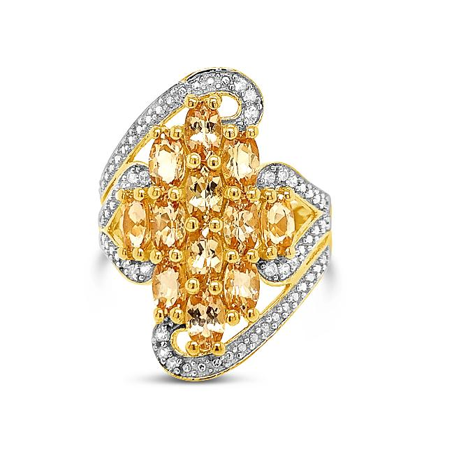 2.69 Carat Genuine Imperial Topaz & White Zircon Ring in 18K Yellow Gold-Plated Sterling Silver