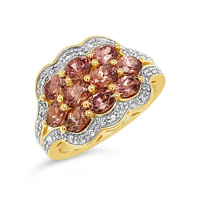 2.55 Carat Mocha Zircon & White Zircon Ring in 18K Yellow Gold-Plated Sterling Silver