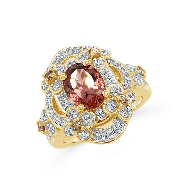 2.86 Carat Mocha Zircon with White Zircon & Champagne Diamond Ring in 18K Yellow Gold-Plated Sterling Silver