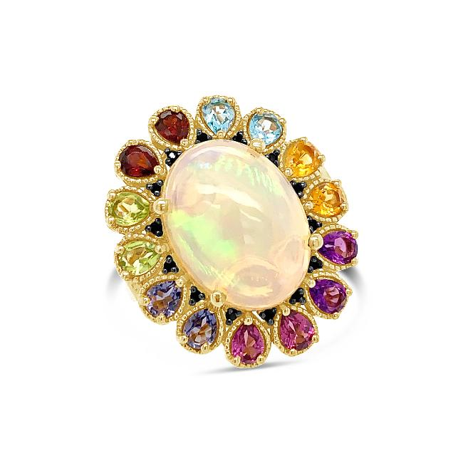 6.84 Carat Genuine Opal & Multi-Color Gemstone Ring in 18K Yellow Gold-Plated Sterling Silver