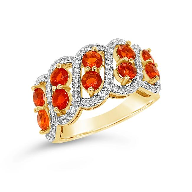 1.25 Carat Fire Opal & White Zircon Ring in 14K Yellow Gold-Plated Sterling Silver