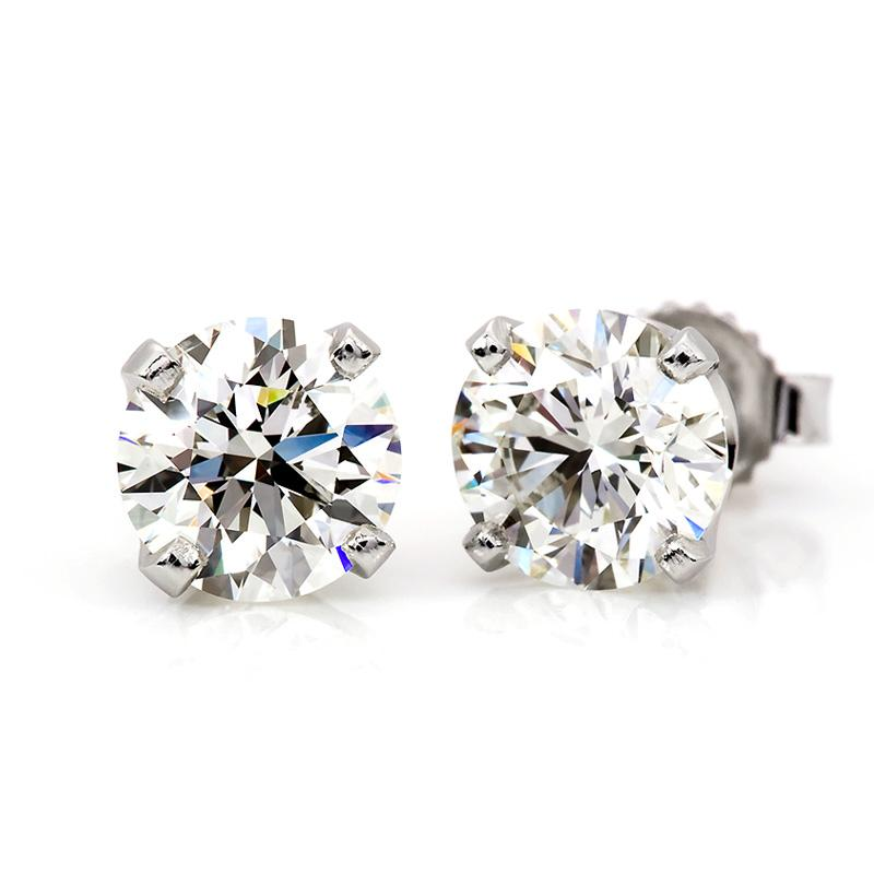 1/2 Carat Diamond Stud Earrings in 14K White Gold (H-I,I2-I3)