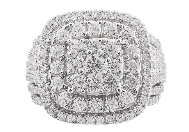 3.00 Carat Diamond Engagement Ring in 10K White Gold (H-I,I2)