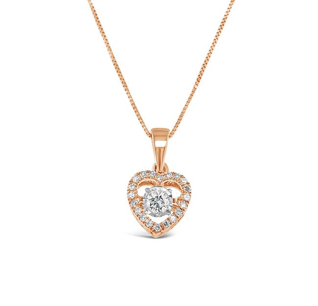 3/8 Carat Diamond Heart Pendant in 10K Rose Gold - 18""