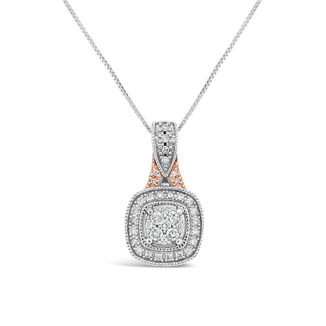 1/4 Carat Diamond Fancy Pendant in Two-Tone 10K Gold -18