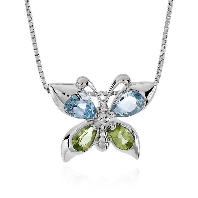 "Blue Topaz and Peridot Butterfly Pendant in Sterling Silver with 18"" Box Chain"
