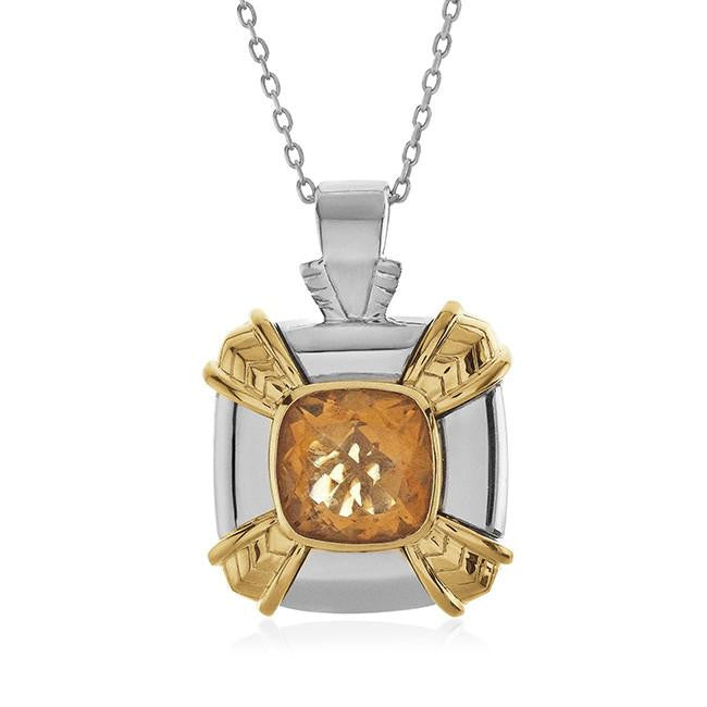 4.00 Carat Genuine Citrine Pendant in Two-Tone Sterling Silver with Chain