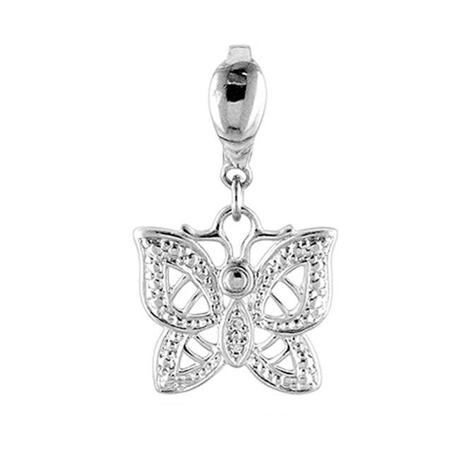 Sterling Silver Diamond Accented Butterfly Charm