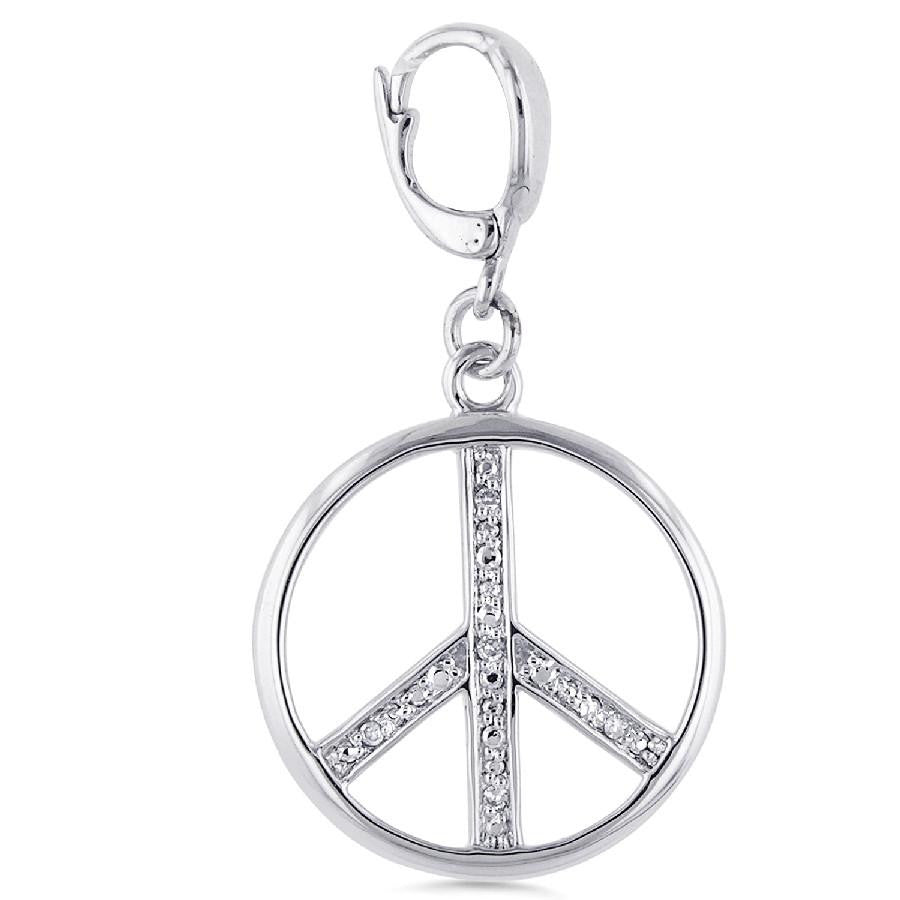 "Sterling Silver Diamond Accented  ""Peace"" Sign Charm"