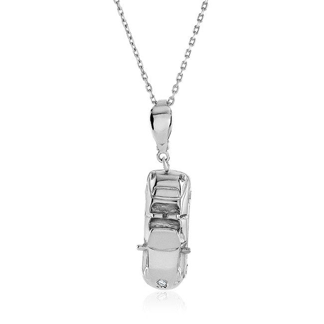 Sterling Silver Diamond Accented Car Charm