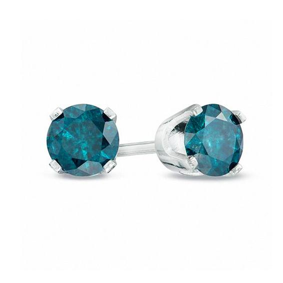 Near 3/4 Carat Blue Diamond Stud Earrings in Sterling Silver
