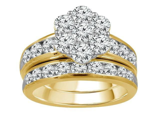 3.00 Carat Diamond Bridal Set in 10K Yellow Gold (H-I,I2)