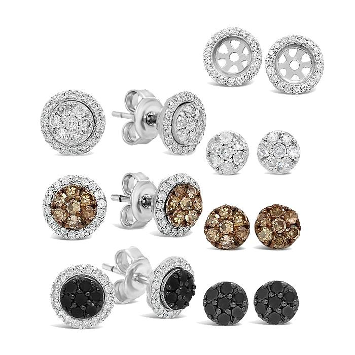 3/4 Carat Diamond Halo Interchangeable Stud Earrings in Sterling Silver
