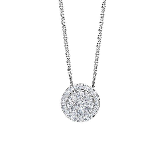 "3/4 Carat Lab-Grown Diamond Halo Pendant in 14K White Gold - 18"" (G-H/SI2)"
