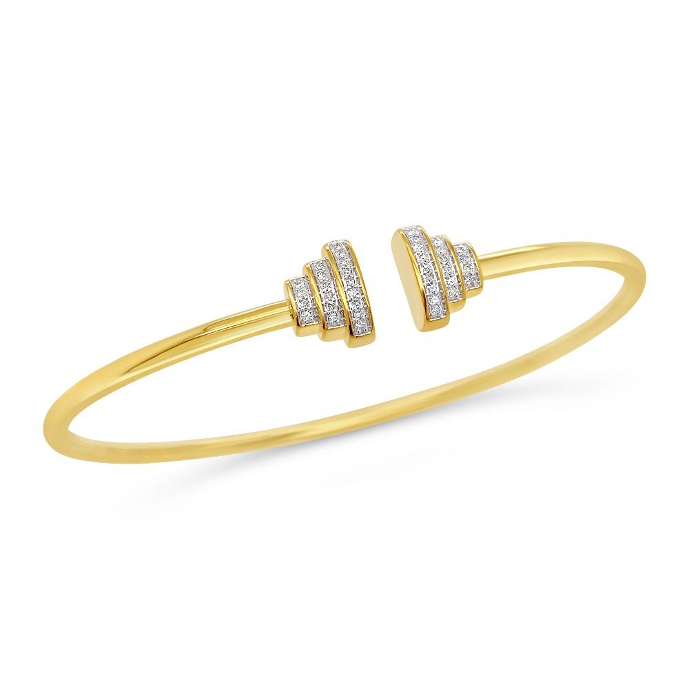 1/10 Carat Diamond Bangle in Yellow Gold-Plated Sterling Silver