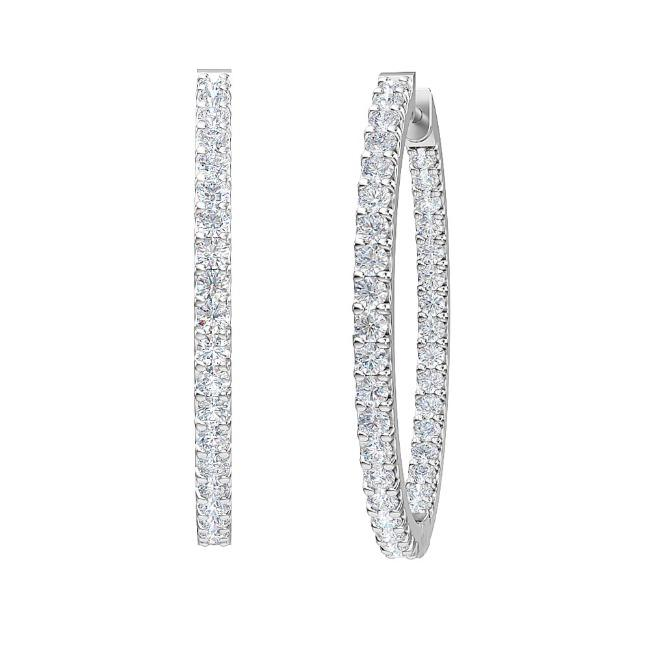 1.00 Carat Lab-Grown Inside-Out Diamond Hoop Earrings in 14K White Gold (G-H/SI2)