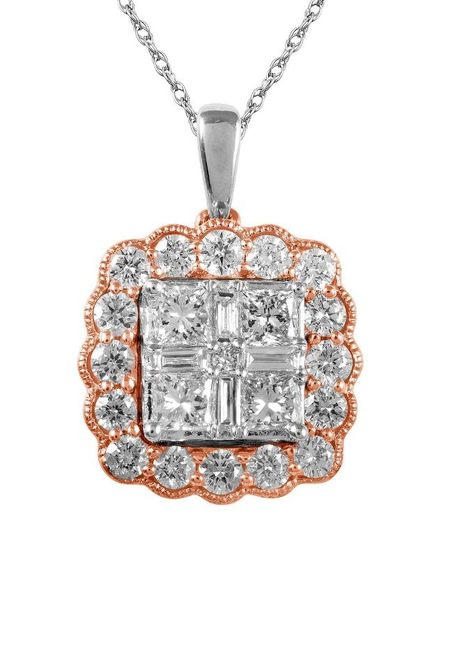 "1.00 Carat Quad Princess-Cut Diamond Flower Pendant in Two-Tone 14K Gold - 18"" (GH-SI)"