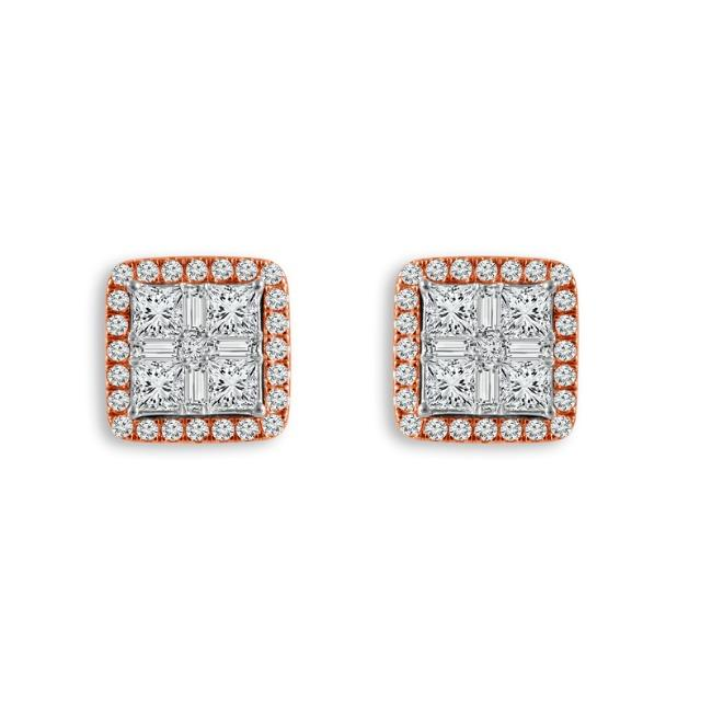 1.00 Carat Quad Princess-Cut Diamond Earrings in Two-Tone 14K Gold (GH-SI)