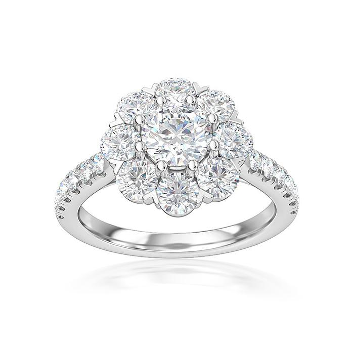 2.50 Carat Lab-Grown Diamond Flower Engagement Ring in 14K White Gold (G-H/SI1)(0.75 Center Stone: I/SI1)