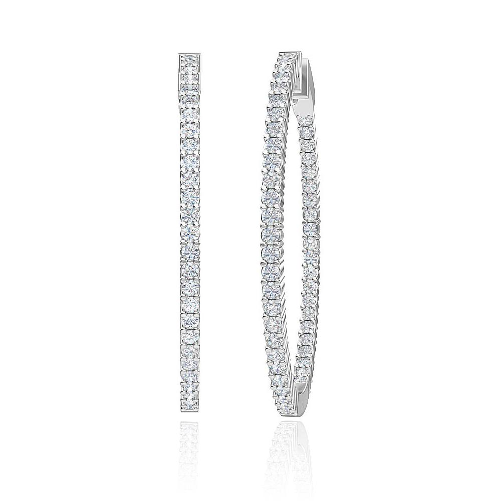 3.00 Carat Lab-Grown Inside-Out Diamond Hoop Earrings in 14K White Gold (44 MM)