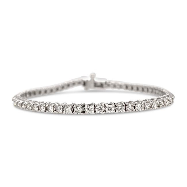 10.00 Carat Diamond Straight Link Tennis Bracelet in 14K White Gold (I-J/I2)
