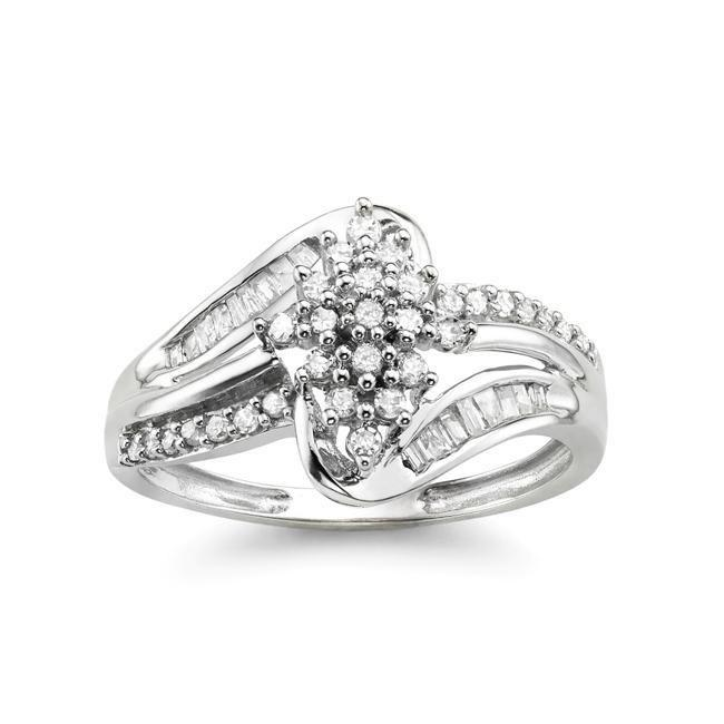 1/3 Carat Diamond Cluster Ring in 10K White Gold