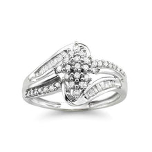 Load image into Gallery viewer, 1/3 Carat Diamond Cluster Ring in 10K White Gold
