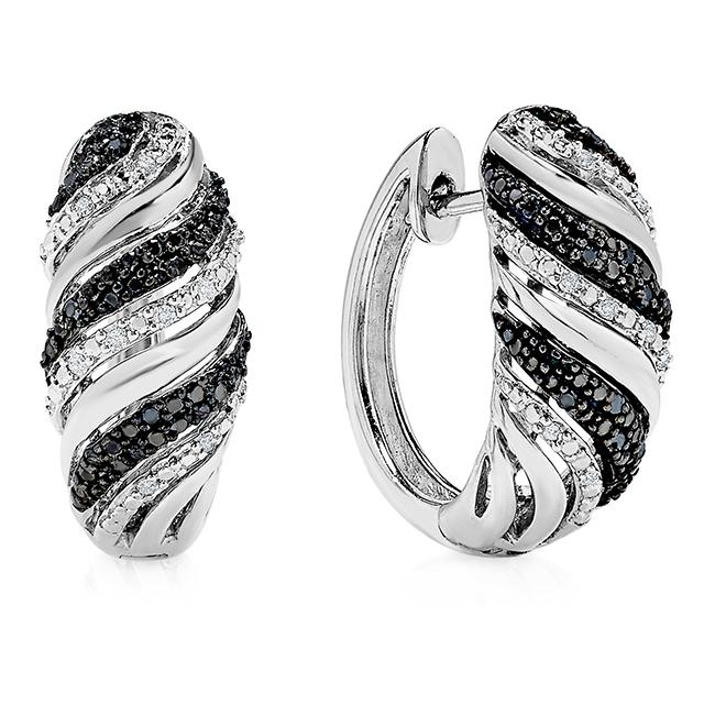 1/4 Carat Black & White Diamond Hoop Earrings in Sterling Silver
