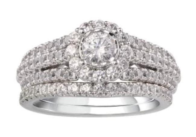 1.25 Carat Diamond Bridal Set in 10K White Gold (G-H,SI2)