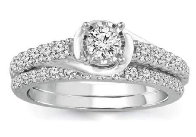 0.90 Carat Diamond Bridal Set in 10K White Gold (G-H,SI2)