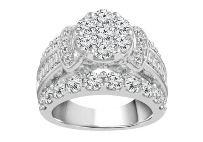 4.04 Carat Diamond Engagement Ring in 14K White Gold (G-H,SI2)