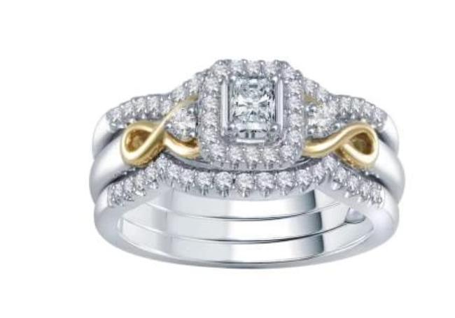 0.65 Carat Diamond Bridal Set Ring in 10K Two-Tone (G-H,SI2)