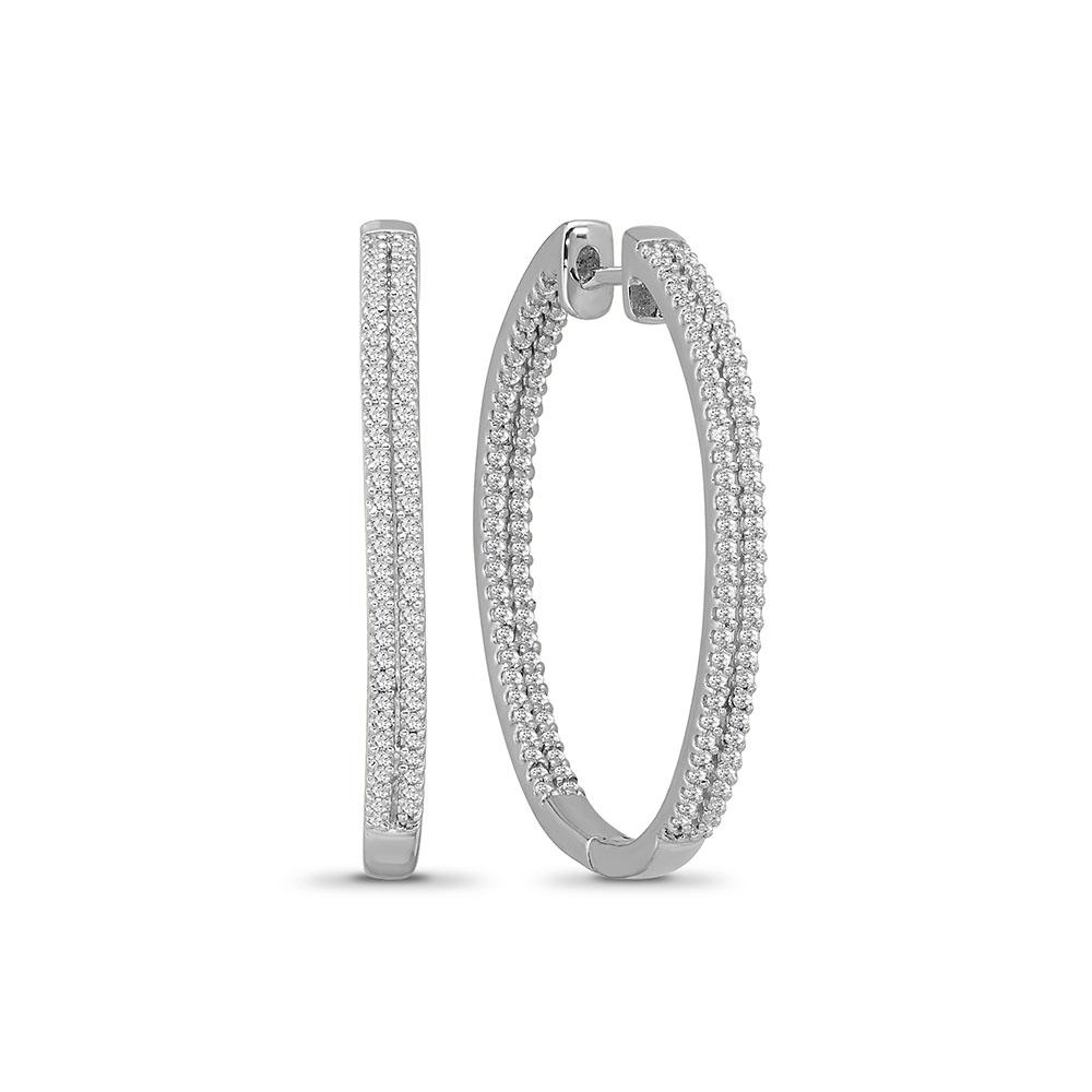 1.28 Carat Diamond Inside-Out Hoop Earrings in 10K White Gold